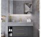 依倩卫浴浴室柜轻奢岩板组合100cm普通镜柜+岩板一体盆