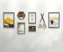 现代简约装饰画组合客厅沙发背景墙画北欧风格创意挂画轻奢艺术画高档酒店时尚壁画餐厅饭厅歺厅样板间墙壁画黑金色-莫兰